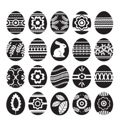 silhouettes of black easter eggs isolated on vector image