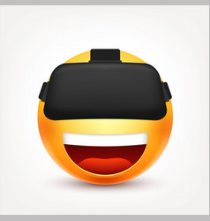 smiley with vr glassessmiling emoticon yellow vector image
