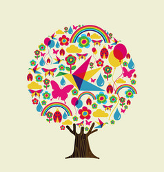 spring season tree of colorful springtime icons vector image