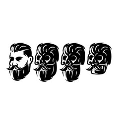 Style set with male head and skulls with vector