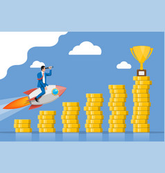 Successful business man flying on rocket on graph vector