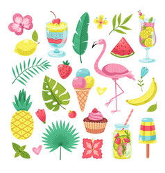 summer elements tropical vacation photo booth vector image