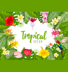 Summer tropical frame design vector