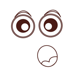 Surpresed emogy face kawaii character vector