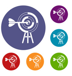 target with an arrow icons set vector image