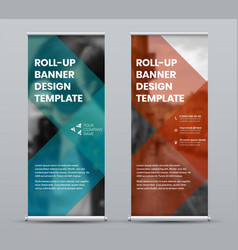 Template roll up banner with geometric design vector