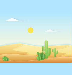 trendy paper cuted style desert landscape with vector image