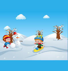 two kids playing in the snow field vector image
