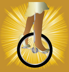 Unicycle on golden splash vector