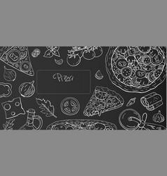 vintage horizontal pizza banner on black vector image