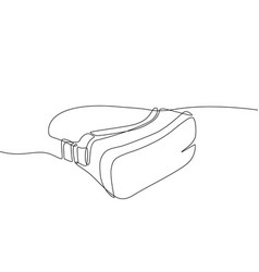 virtual reality headset - one line design style vector image