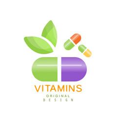 Vitamins logo template herbal supplement natural vector