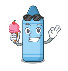 With ice cream blue crayon in cartoon column vector