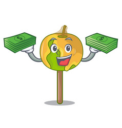 With money bag candy apple mascot cartoon vector