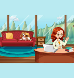 Young lady working from home vector