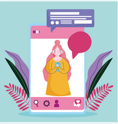young woman with smartphone texting chatting vector image