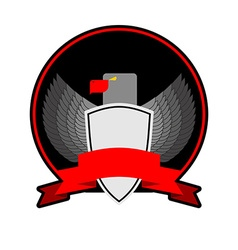 angry Bird with shield in black circle with a Red vector image vector image