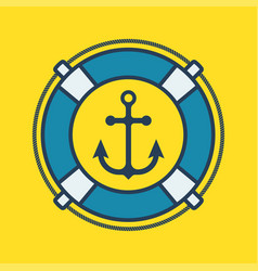 arine label with anchor and lifebuoy vector image vector image