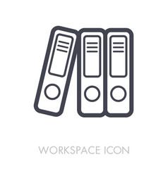 file folder outline icon workspace sign vector image vector image