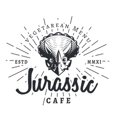 Jurassic cafe logo template Dinosaur vegetarean vector image vector image