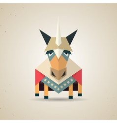 Magic cute origami unicorn from folded paper vector image