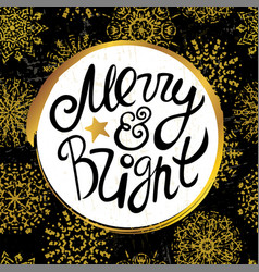 merry and bright lettering on snowflake pattern vector image vector image