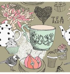 Vintage Tea Party Pattern vector image vector image