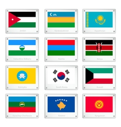 A Collection of National Flags on Metal Texture vector image vector image