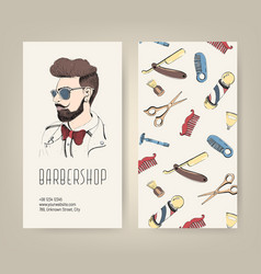 barbershop flyer with barber tools and trendy man vector image