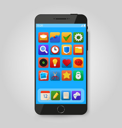 black mobile smart phone with app icon smartphone vector image vector image