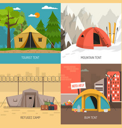 camping tent concept 4 icons square composition vector image vector image