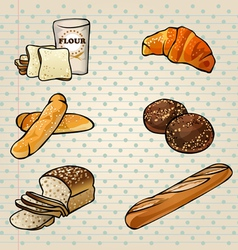 Colorful Bakery Products Set vector image