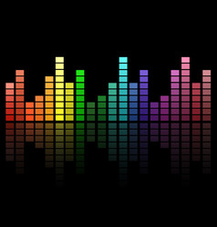 Digital colorful equalizer sound waves abstract vector