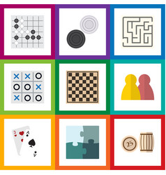 flat icon entertainment set of ace jigsaw vector image vector image