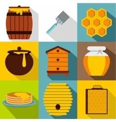 Honey icons set flat style vector