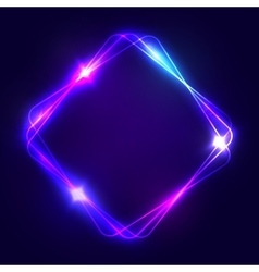 Neon sign Square glowing light banner with space vector image vector image
