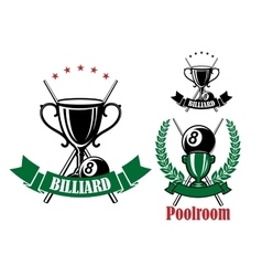 Pool emblems with trophies and balls vector image vector image