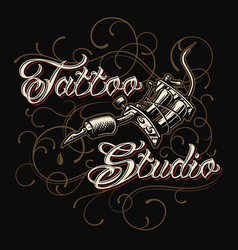tattoo studio emblem with tattoo machine vector image
