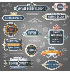 Vintage design elements stickers vector image vector image