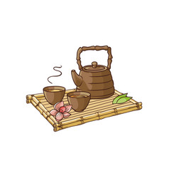 asian teapot and teacups on bamboo trivet vector image vector image