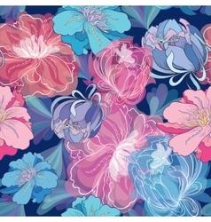 Blue Romantic Floral Pattern vector image