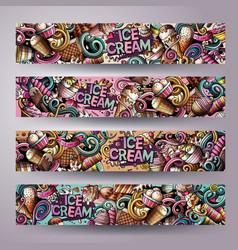 cartoon doodles ice cream banners vector image