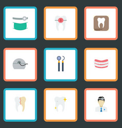 Flat icons brace halitosis artificial teeth and vector