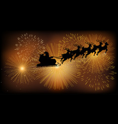 santa claus flying with his sleigh vector image vector image