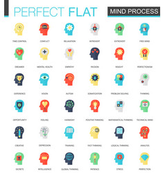 set of flat brain and mind process icons vector image vector image