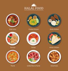 Set of halal food flat design vector