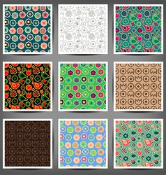 set seamless patterns of flowers and birds vector image vector image