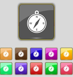 Compass icon sign set with eleven colored buttons vector