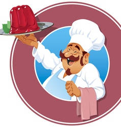 cook with raspberry pudding vector image