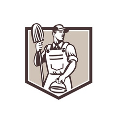Janitor Cleaner Holding Mop Bucket Shield Retro vector image